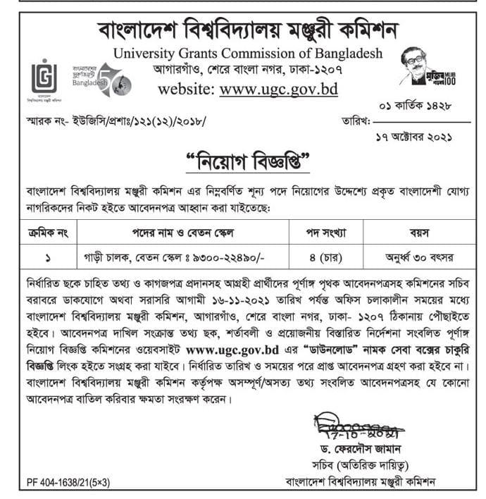 UGC Job Circular 2021