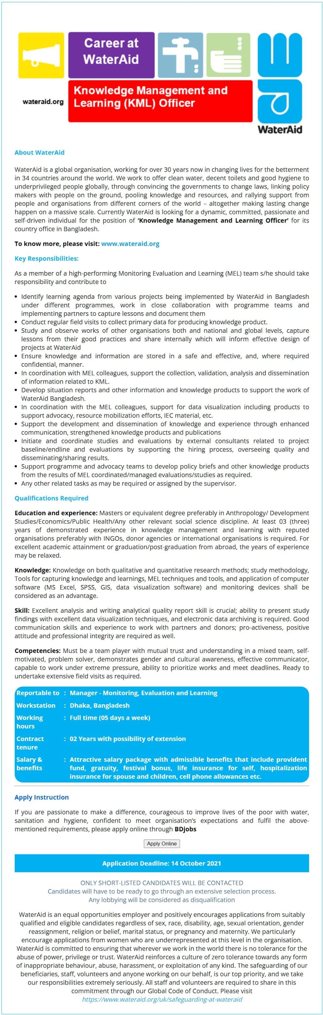 WaterAid Bangladesh Job Circular 2021