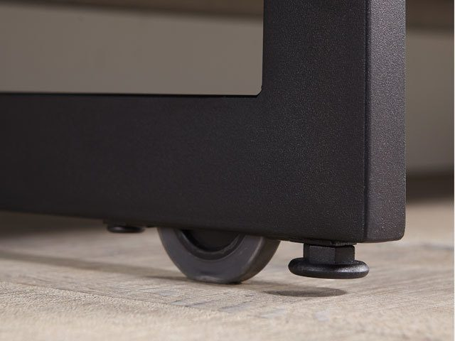 The hidden wheels and levelers that can be found on the Elements 8777 tv stand and storage cabinet by BDI Furniture.