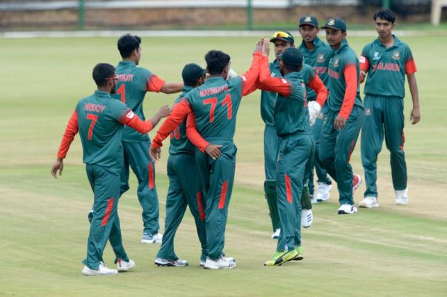 Bangladesh Under-19 players celebrate victory against Zimbabwe in their opening match in the ICC Under-19 World Cup, 2020 on 18 January. Photo: Courtesy