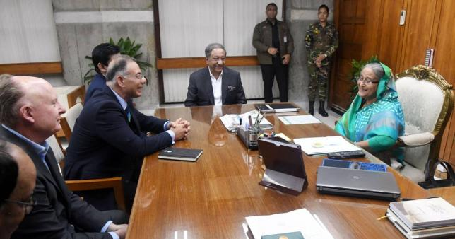 ICC delegation meets PM. Photo: UNB