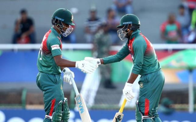 Mahmudul Hasan Joy and Shahadat Hossain in the semi-final against New Zealand. Photo: Cricket World Cup Twitter Handle