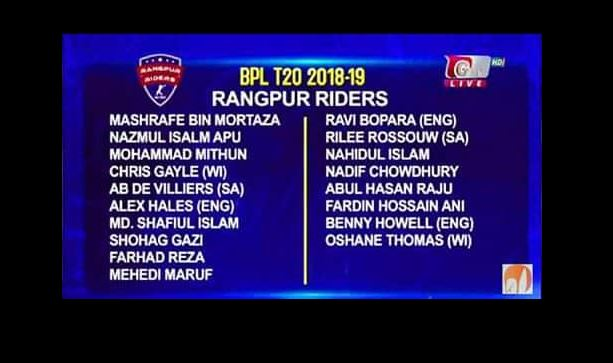 Rangpur Riders Player List, Schedule, Match Ticket BPL T20