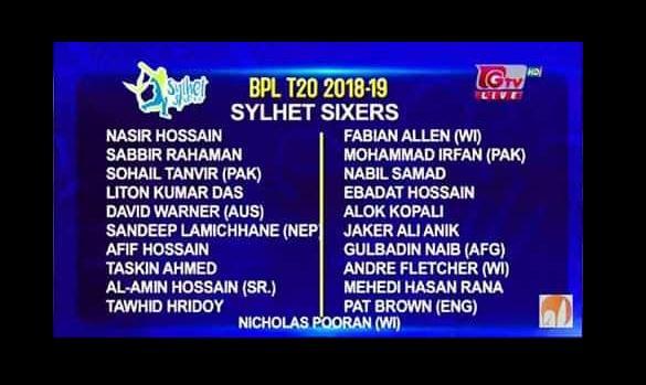 Sylhet Sixers Player List, Match Schedule, Ticket BPL