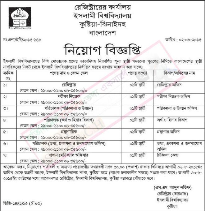 Islami University Job Circular
