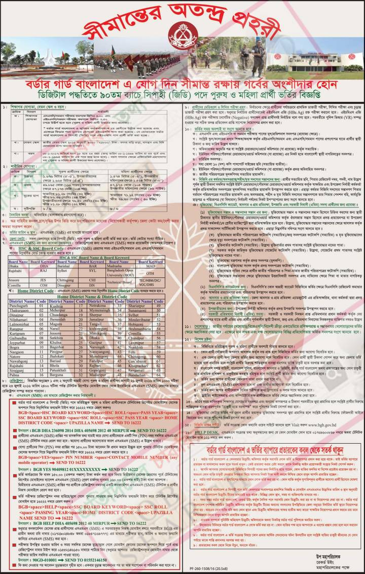 Border Guard Bangladesh (BGB) Sipahi (Soldier) Job Circular