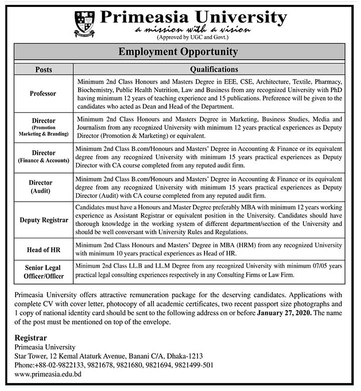 Primeasia University Job Circular jan20