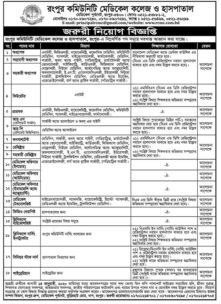 Rangpur Community Medical College Job Circular Jan20