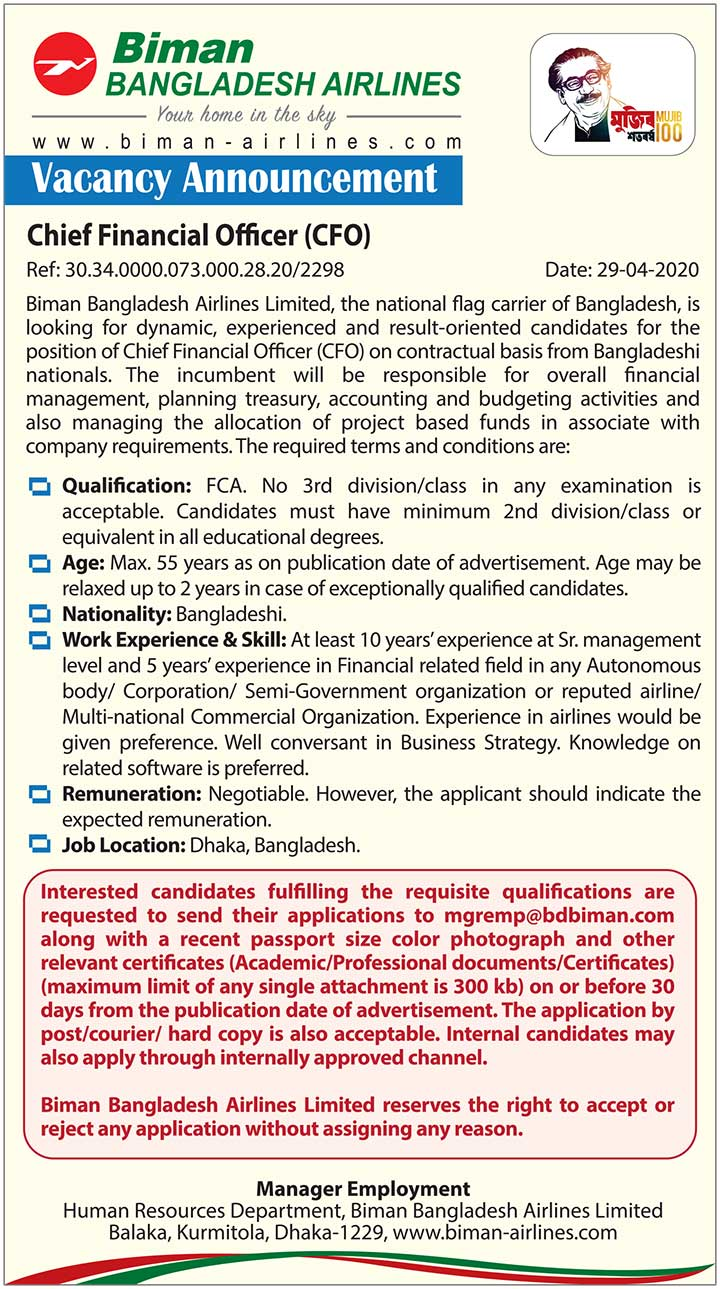 Biman Bangladesh Airlines CFO Job