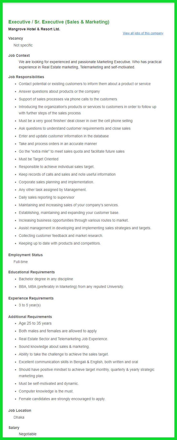 Mangrove Hotel & Resort Ltd Job Circular