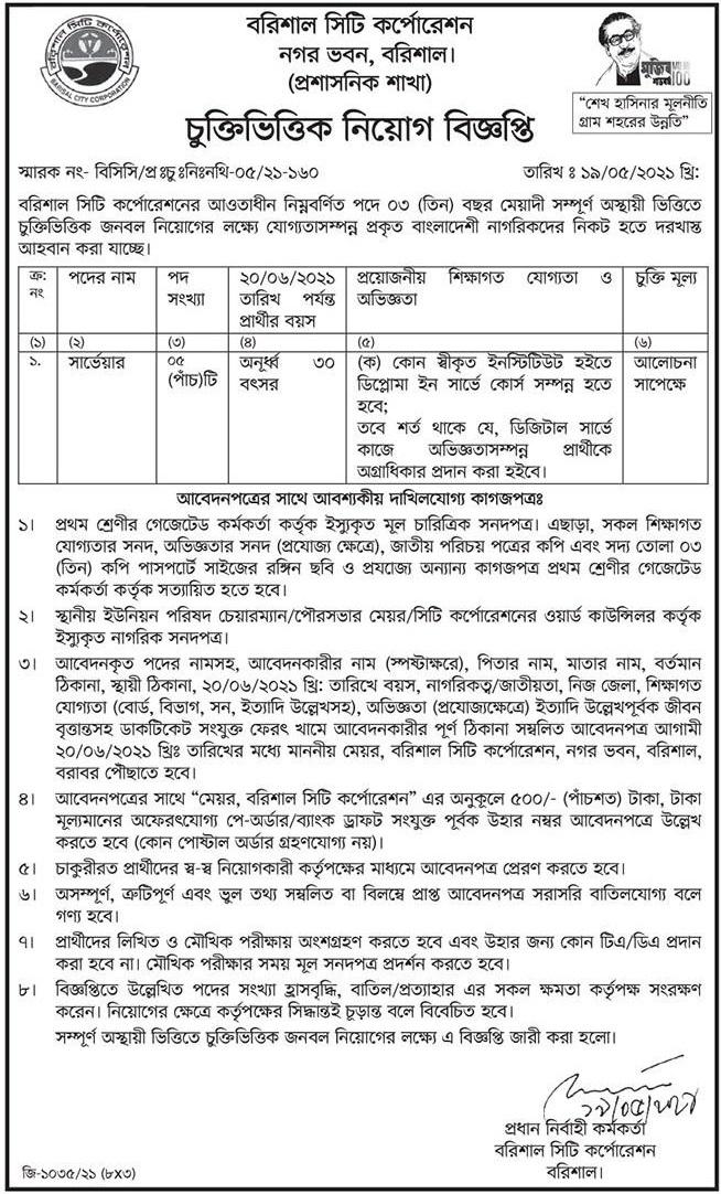 Barisal City Corporation Job Circular June 2021