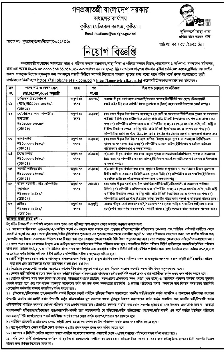 Ministry of Health and Family Welfare Job Circular August 2021