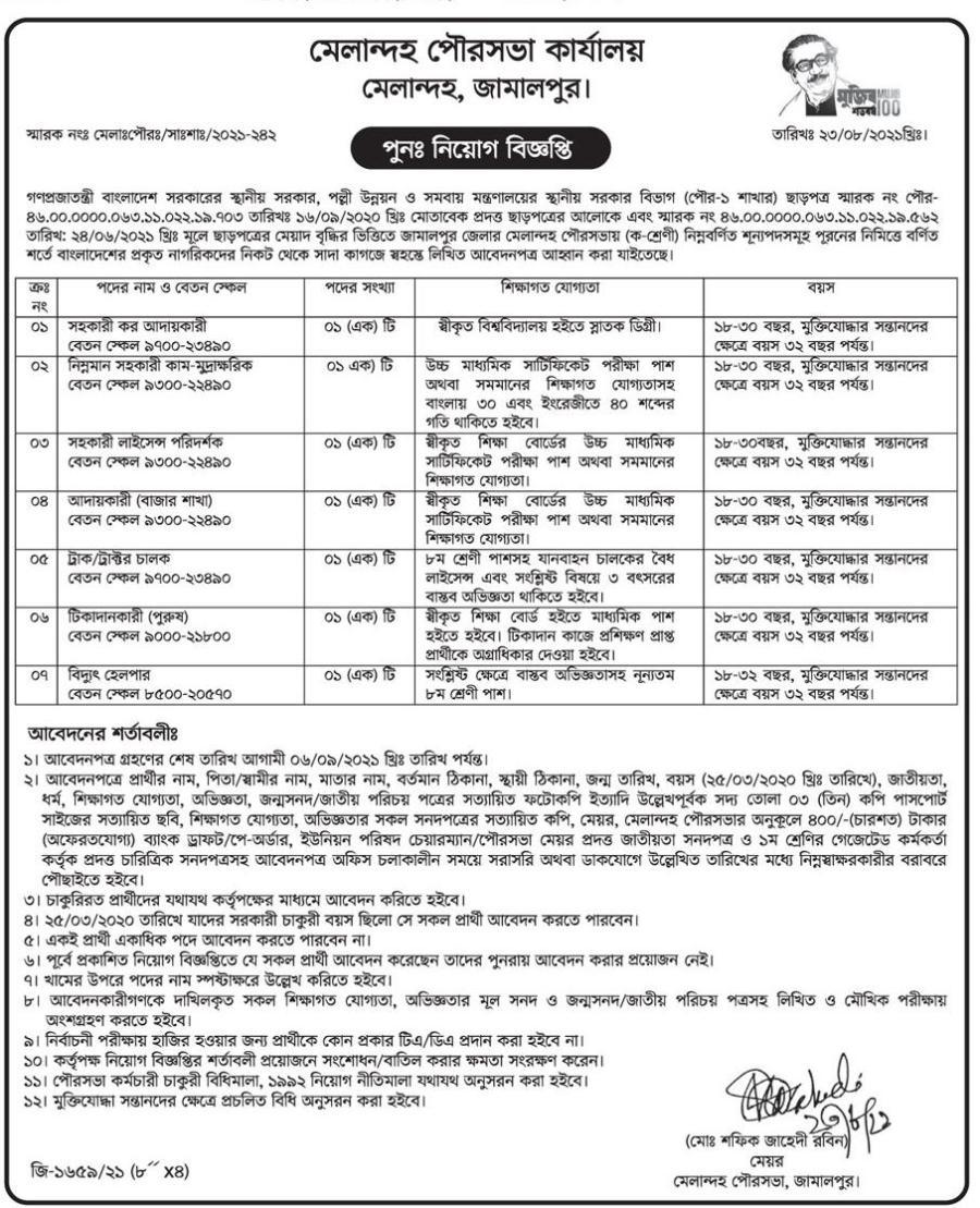 Municipality Job Circular August 2021