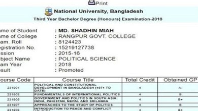 National University (NU) Honours 3rd Year Result 2019