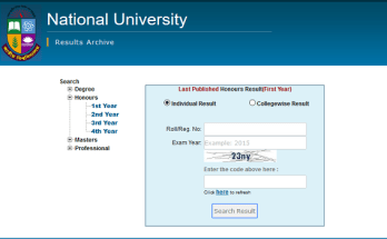 Honours 1st Year Result 2020 National University