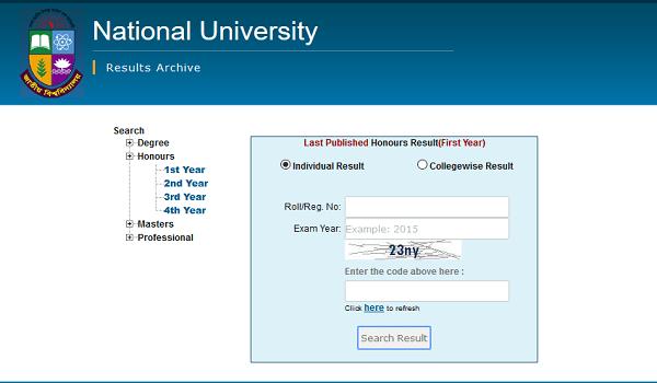 Honours 1st Year Result 2020 National University