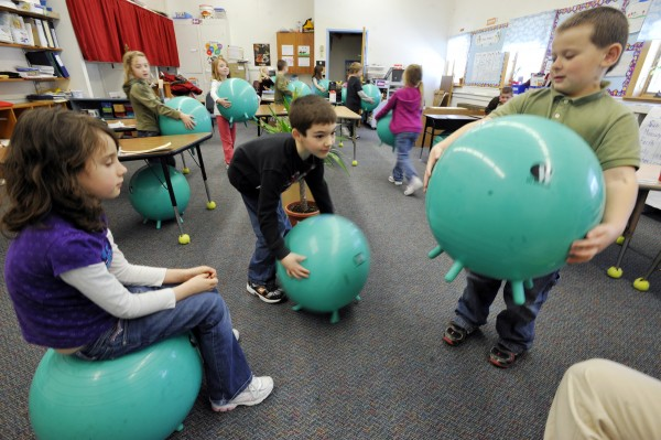 ball chairs for students patterned recliner chair new seating helps fidgety first graders stay on the at orland a well rounded education school