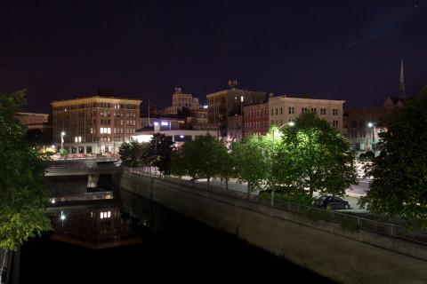 Downtown Bangor at night.