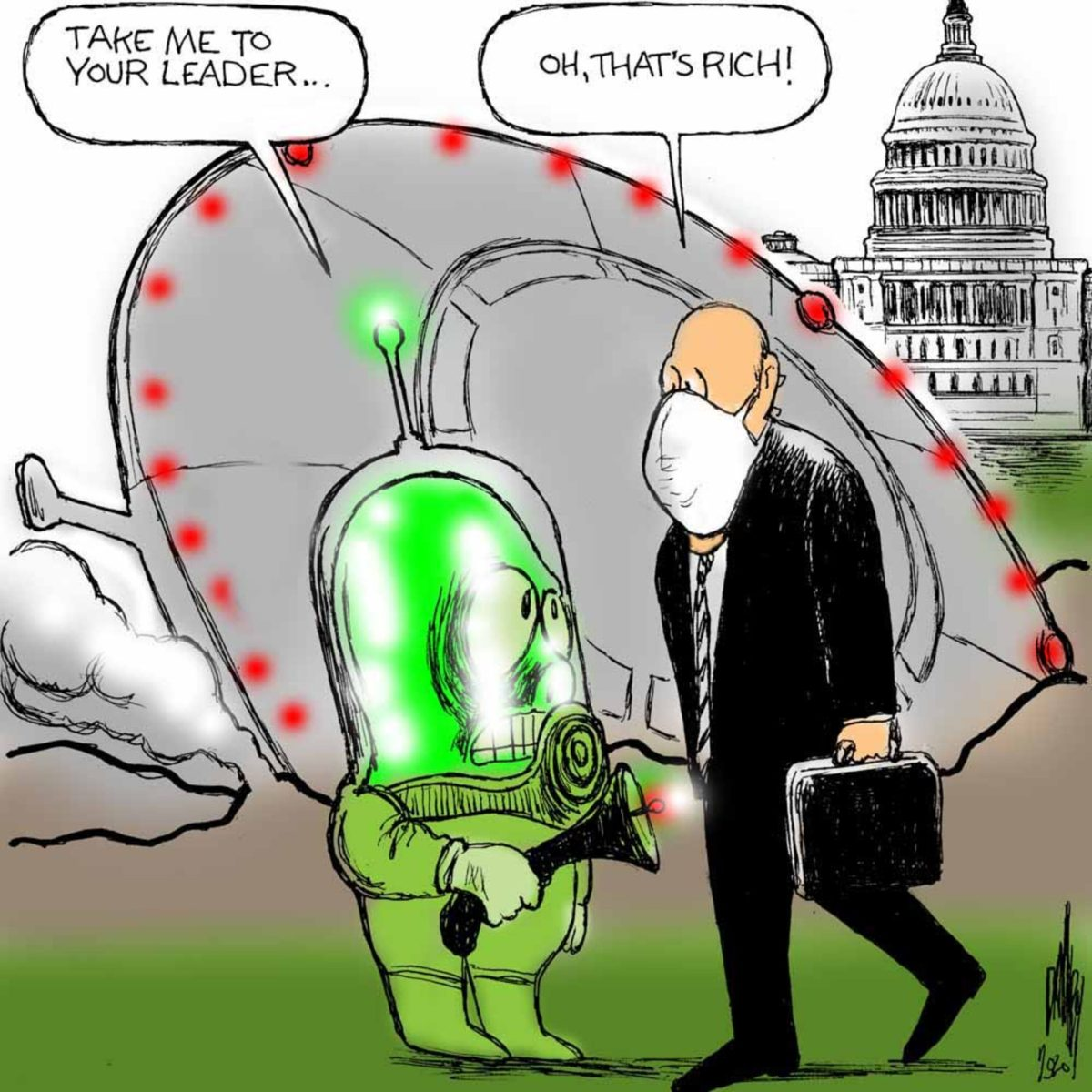 Man wearing medical mask walking in front of White House encounters an ET standing in front of a crashed flying saucer holding a ray gun.  ET says,