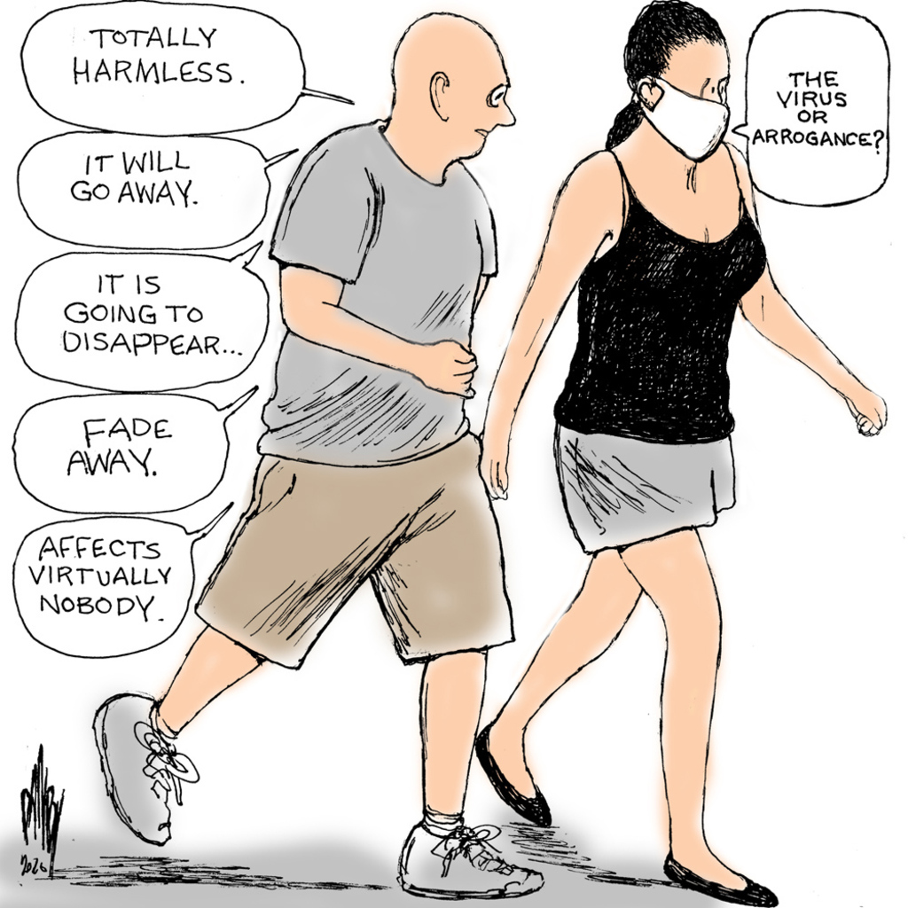 Man and woman walking.  The man is not wearing a mask; the woman is.  Man says,