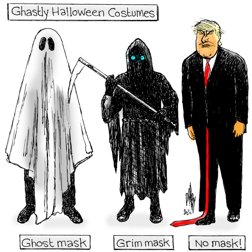 Title:  Ghastly Halloween Costumes.  Image One:  Person wearing white sheet labeled