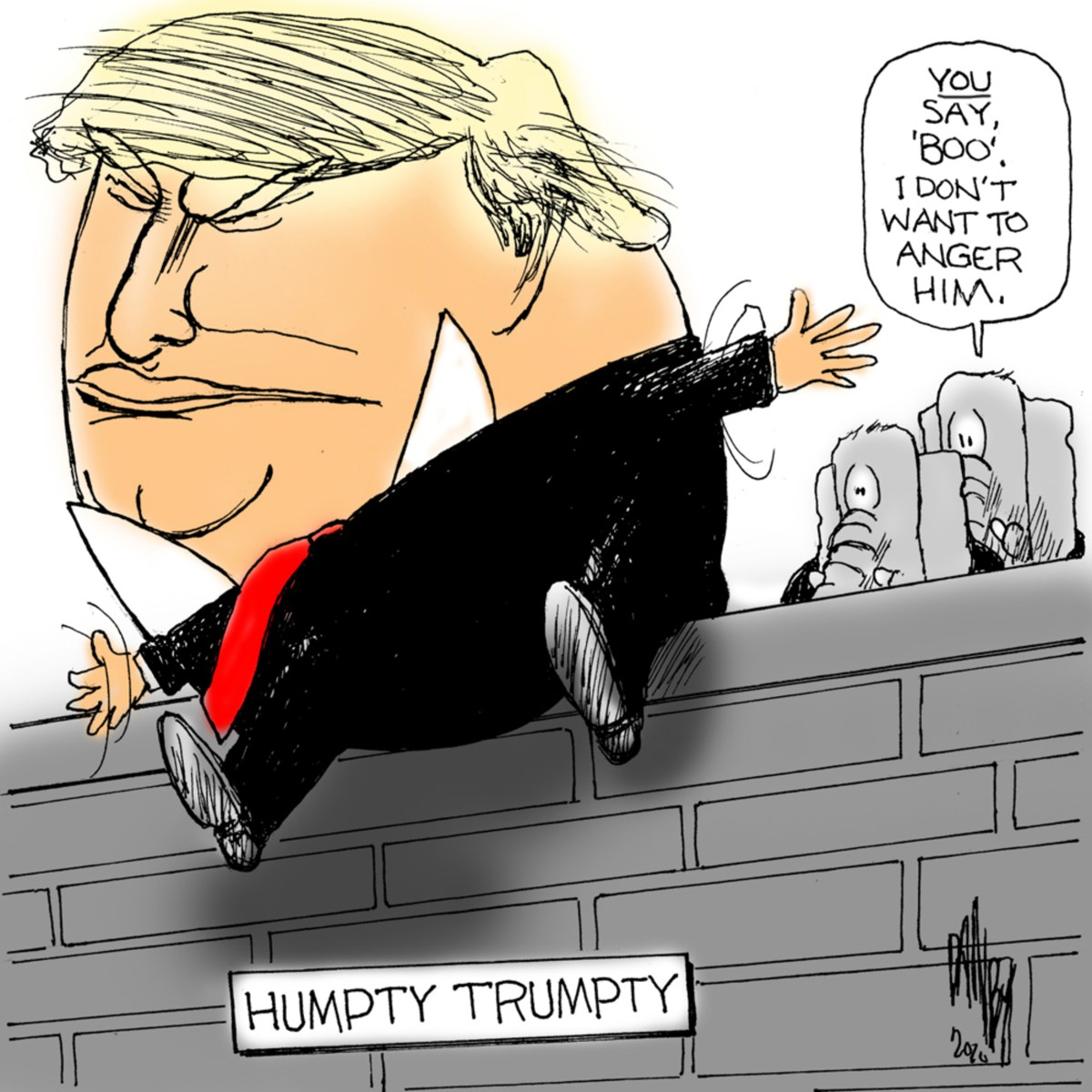 Image of Donald Trump as Humpty-Dumpty sitting on a wall labeled