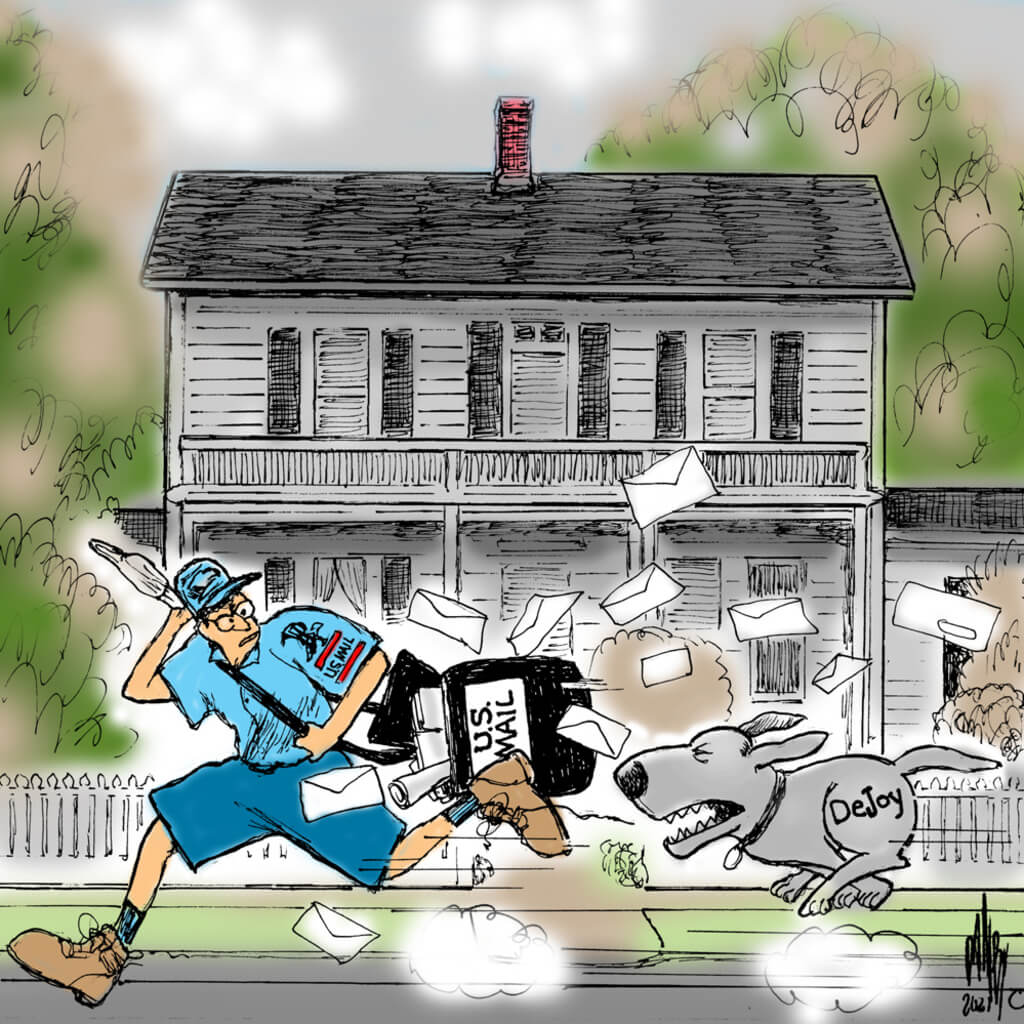 Fleeing mail man being chased by snarling dog labeled
