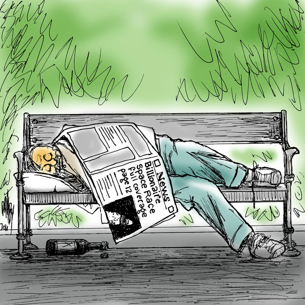 Homeless man sleeping on park bench covered by newspaper with headline,