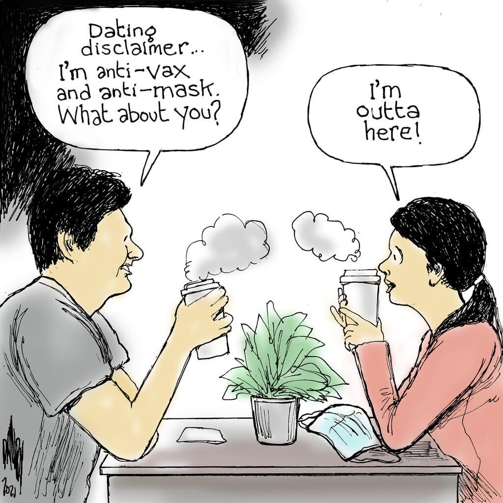 Man and woman at diner table.  Man says,