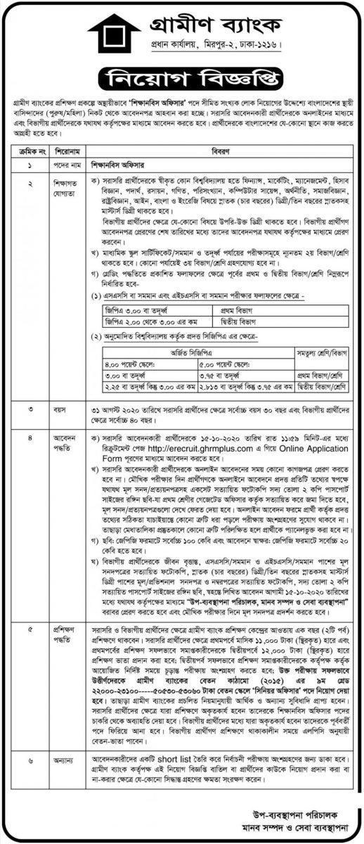 Grameen Bank Job Circular