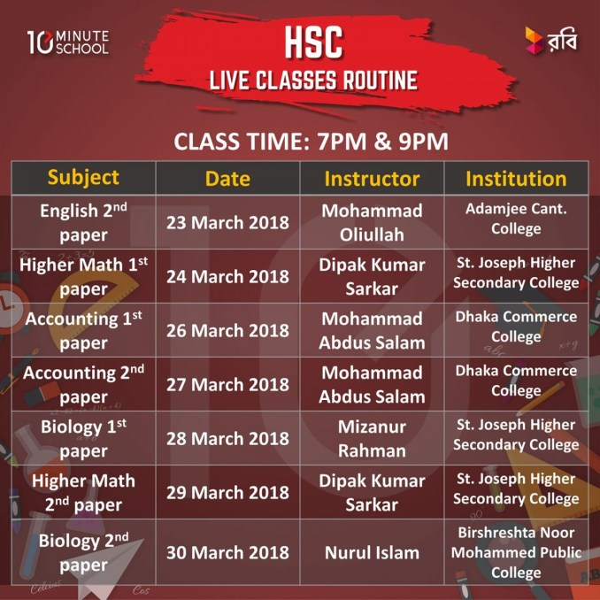 Class Routine of Live class 2020