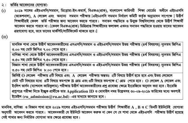 RU Admission all Unit apply Requirements