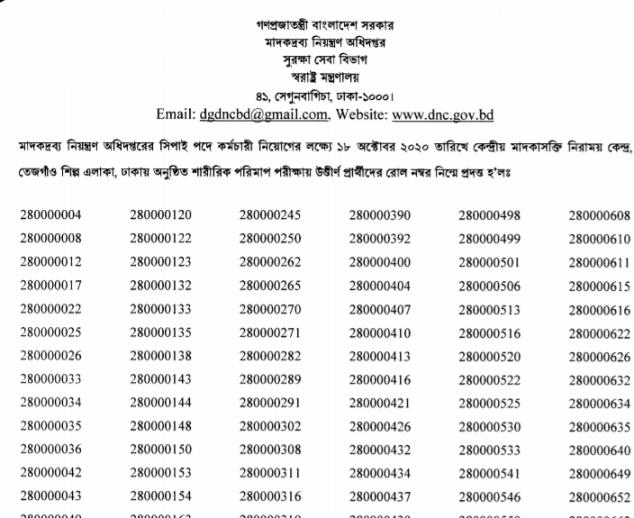 dnc sepoy exam result test 2020