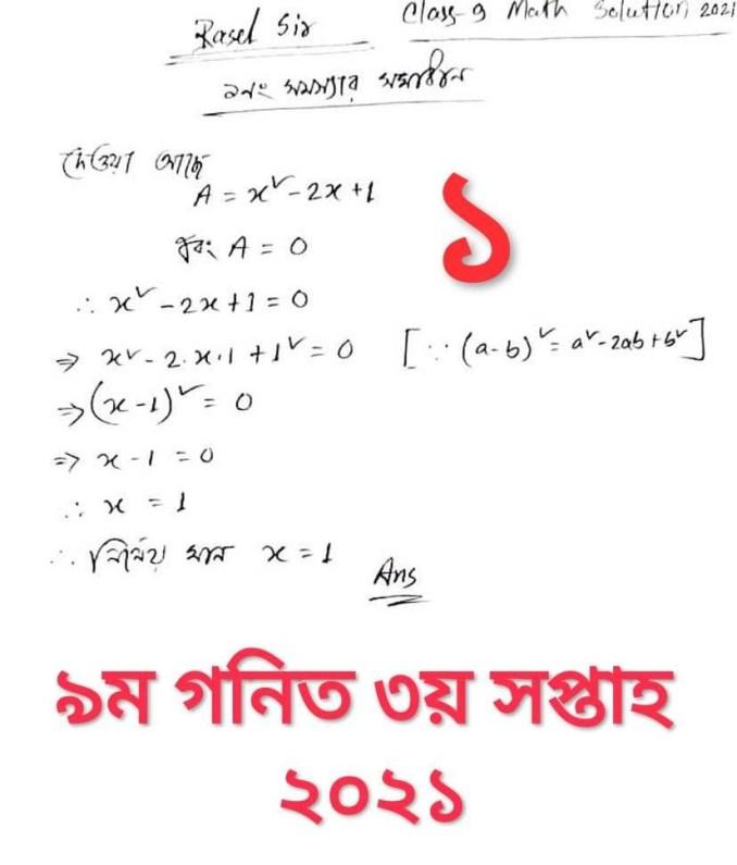 Class 9 Math Assignment Answer
