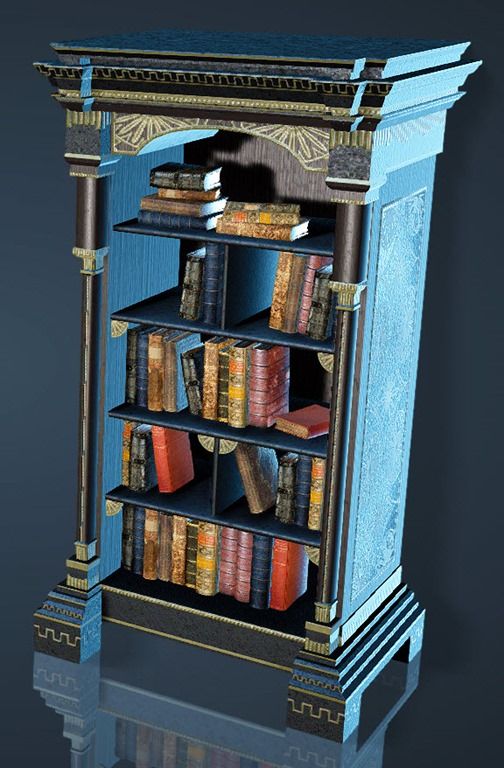 Volcanic Rock Decorated Bookshelf