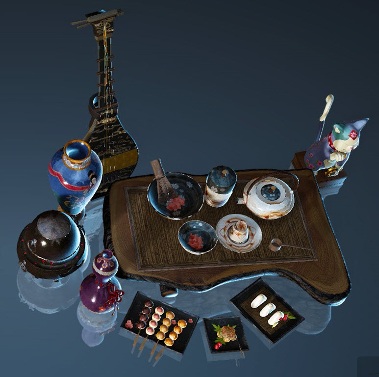 Zen Furniture Prop Set (Black Desert Online