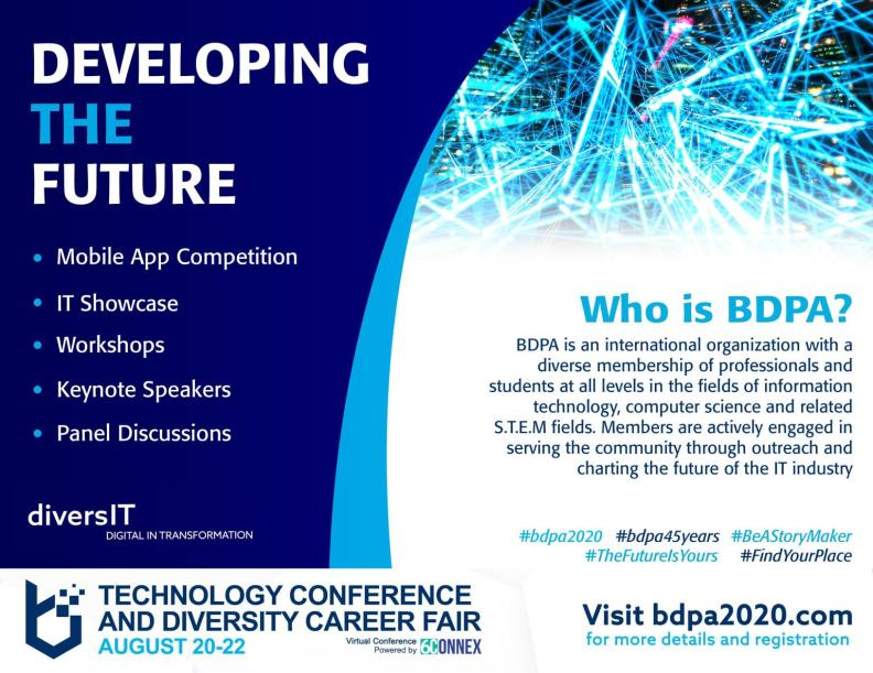 Don't miss a workshop. Select here to register for #BDPA2020!