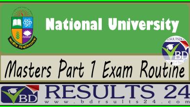 National University Masters Part 1 Exam Routine