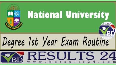 NU Degree 1st Year Exam Routine