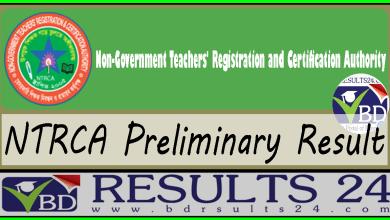 NTRCA Preliminary Result