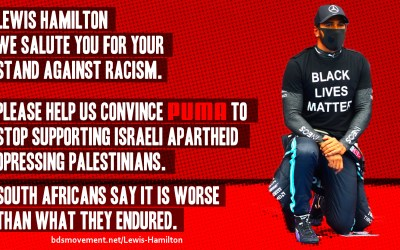 Urge Lewis Hamilton To Help Convince Puma To End Support for Israeli Apartheid