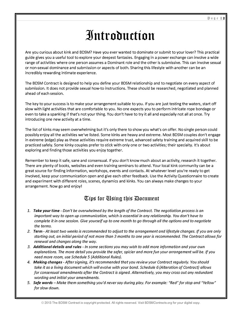 BDSM Dominant/submissive Contract