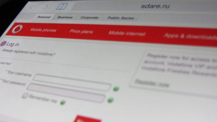 Phishing vodafone website