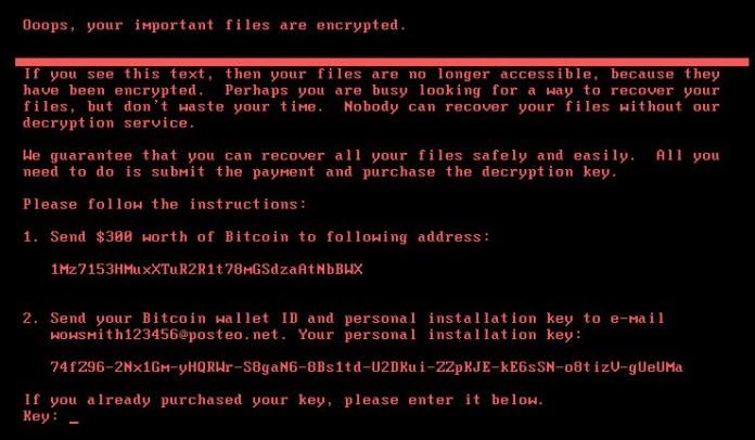 Ransomware message from Petya/notPetya malware
