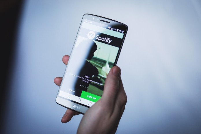 Spotify on Android Smartphone.