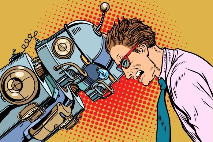 Many robots vs human, humanity and technology