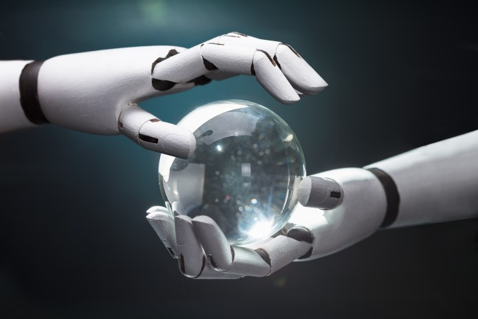 Robot Predicting Future With Crystal Ball