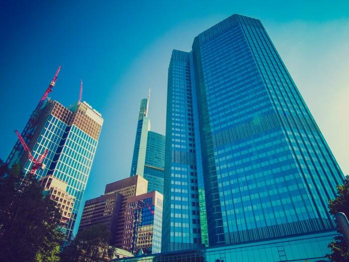 Retro look European Central Bank in Frankfurt