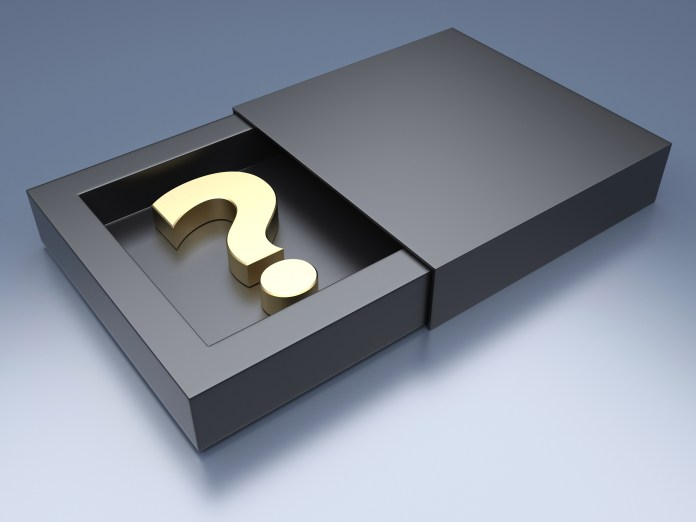 Question mark in black box