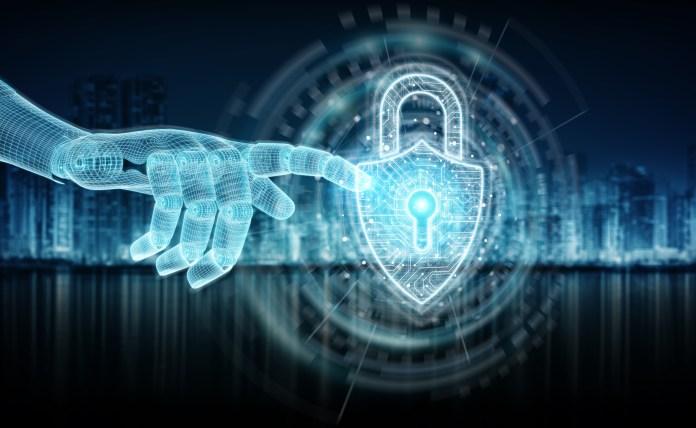 Wireframed blue robot hand touching digital padlock on dark background 3D rendering